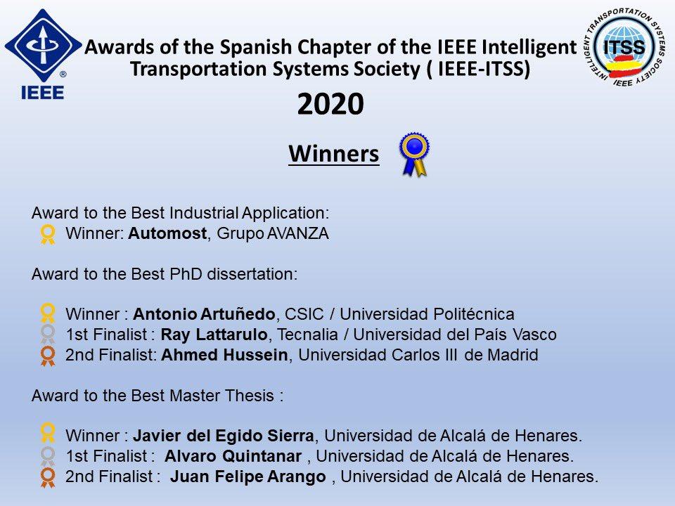 El proyecto Automost, sobre autobús autónomo, en el que colabora Transyt-UPM ha recibido el premio IEEE-ITSS en el capítulo Español